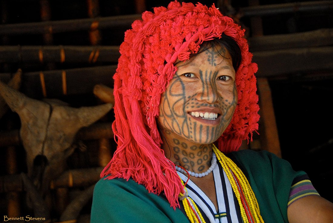 1. Bennett-Stevens_Chin-Tribe_Myanmar_alt=Myanmar photo tour image of Chin tattoo tribe women.