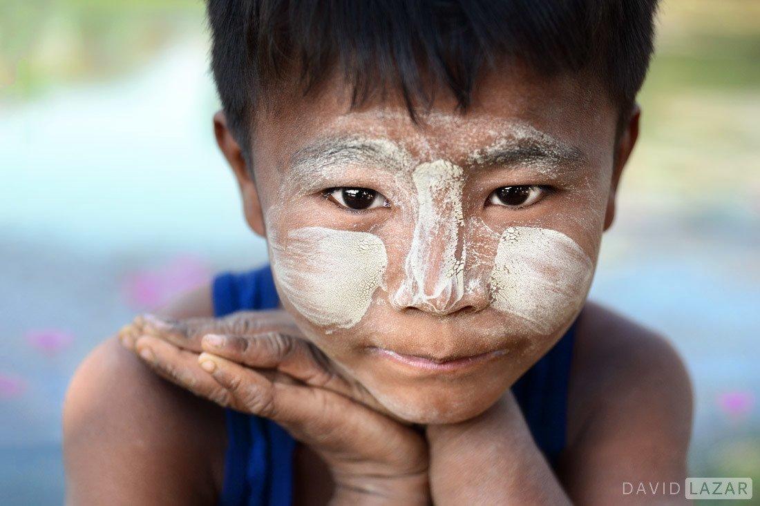 Burma boy in Thanaka paste
