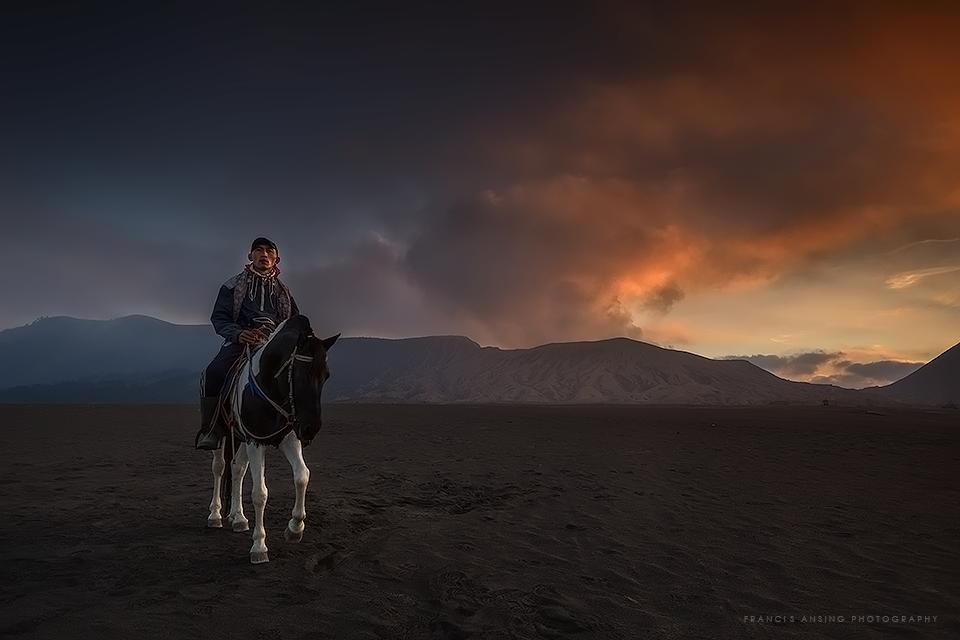 Francis Ansing and Tengerr horseman near Mt. Bromo