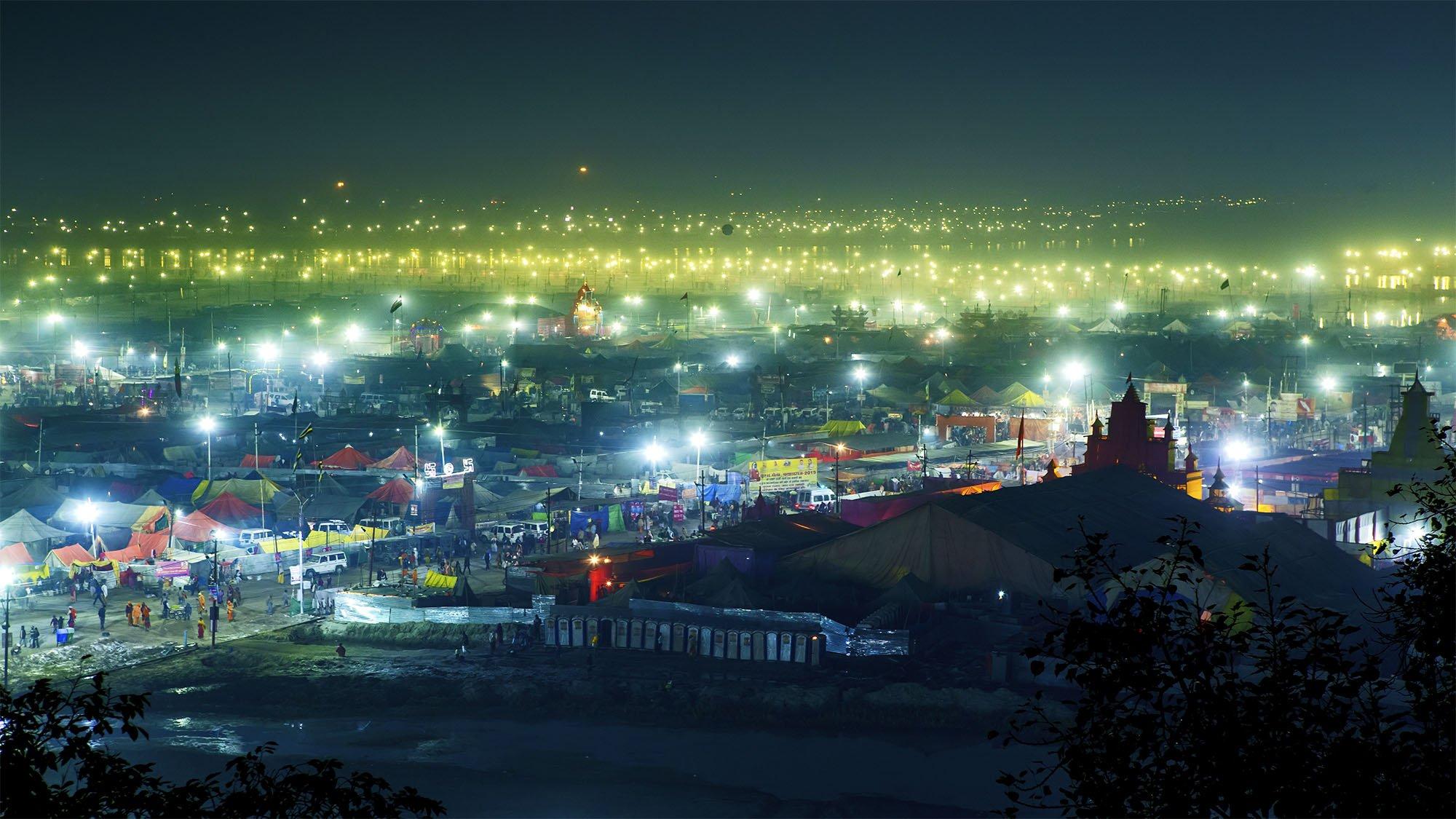 Kumbh Mela photography at night