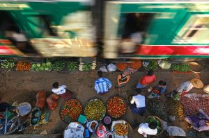 Motin blur image at train station in Myanmar by KK Winn