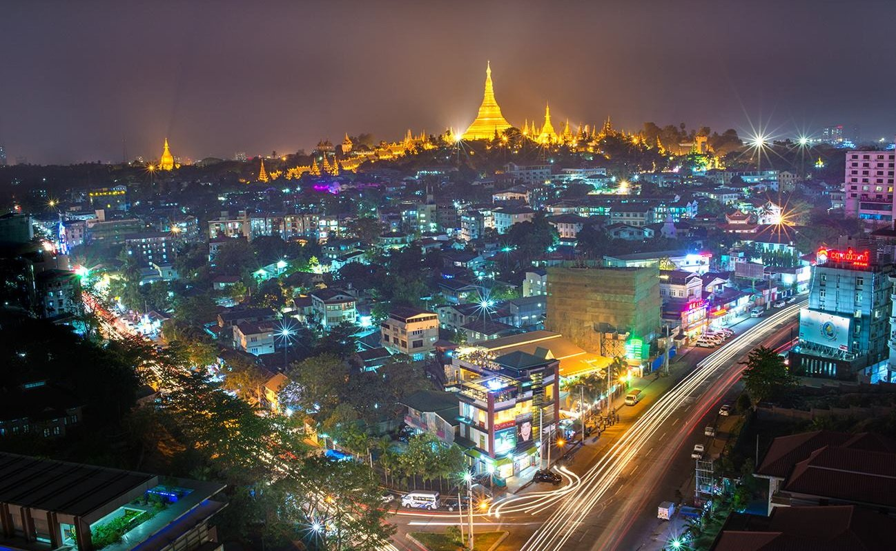 Yangon city-scape at night with Shwedagon Pagoda