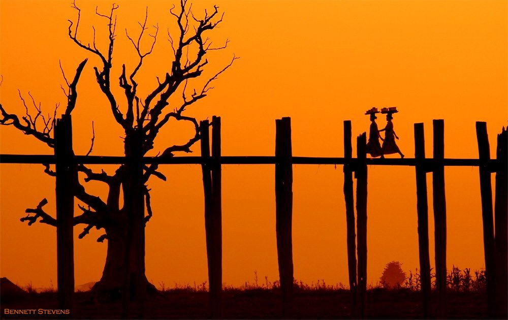 U Bein Bridge at sunset in 2005 Burma published by National Geographic