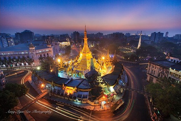 Sule Pagoda at night in Yangon on Burma photo tour