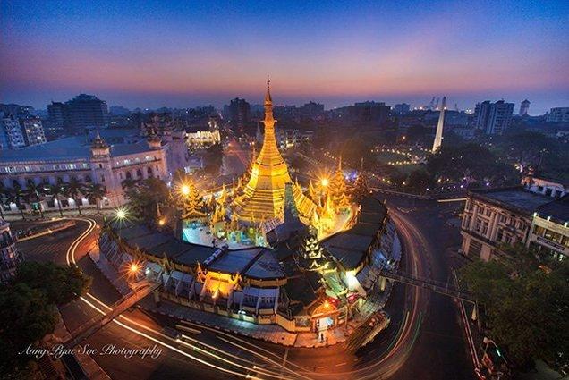 Sule Pagoda at night in Yangon on Burma photo tour