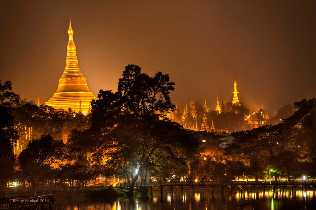 Magnificent Shwedagon Pagoda at night in Yangon, Myanmar