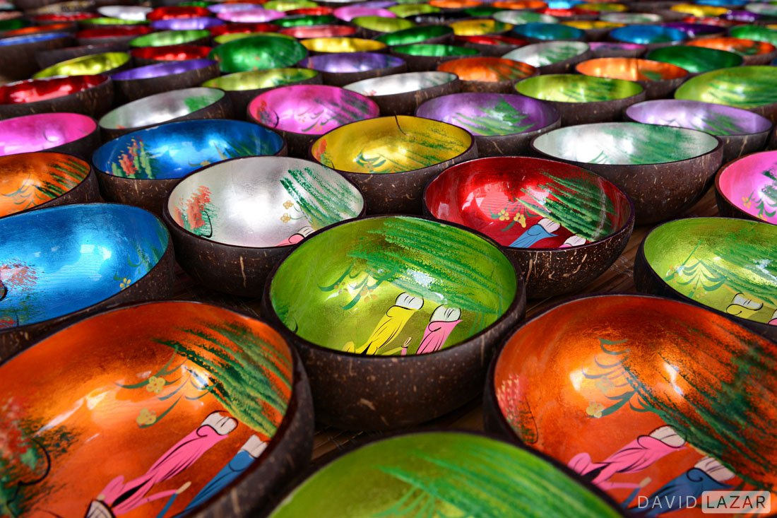 Colorful laquer bowls taken on Vietnam photo tour in Bac Ha