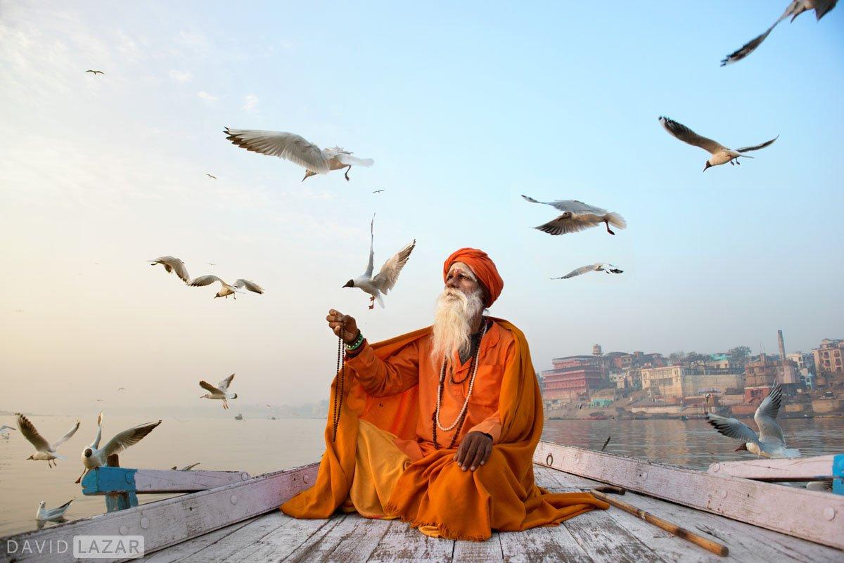 Sadhu with gulls in Varanasi during India photo tour