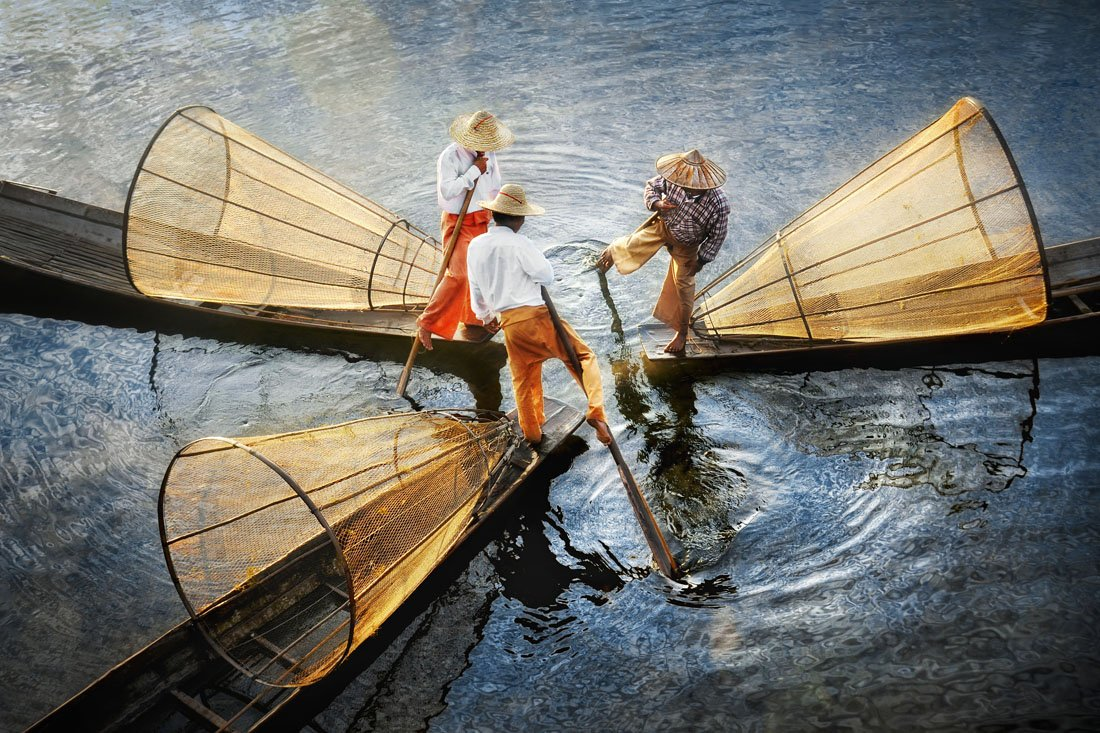 Intha fishermen on Lake Inle, Myanmar, published by National Geographic