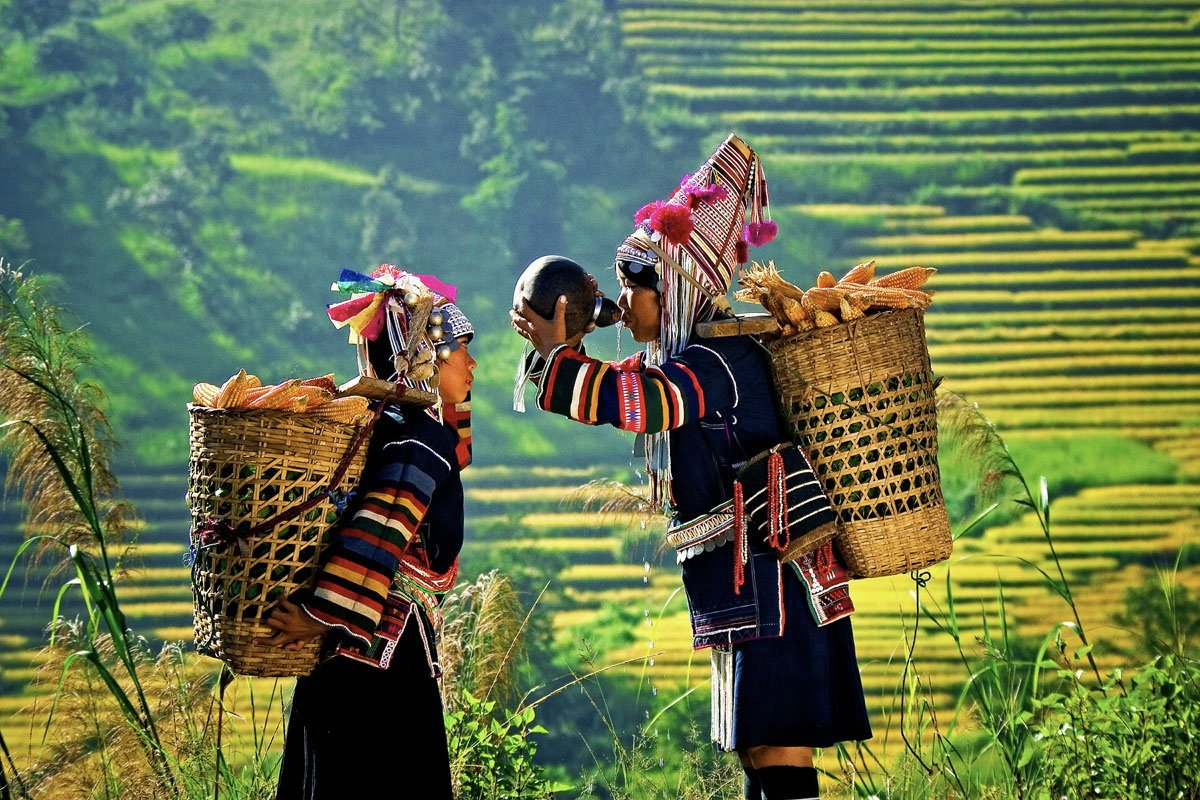 Akha girls and rice terraces during Burma photo tour