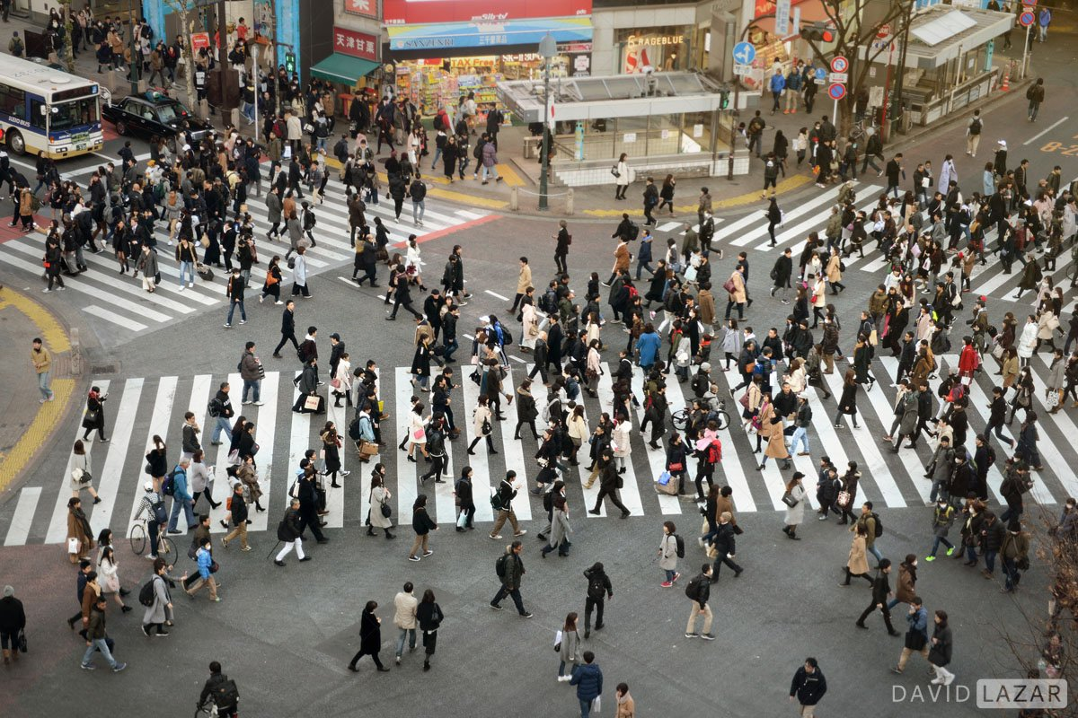 Famous street crossing in Tokyo taken on Japan photo tour from a high angle
