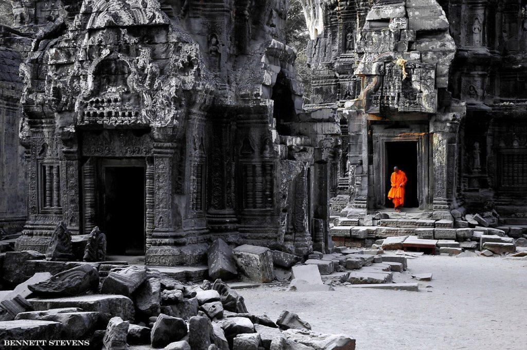 Monk at Ta Prohm, Cambodia photo tour