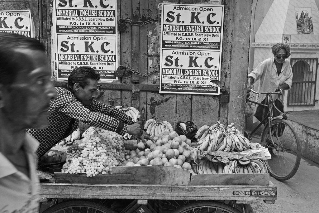 Fruit seller street shot on India photo tour