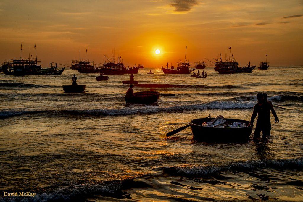 Round fishing boats near Hoi an, Vietnam