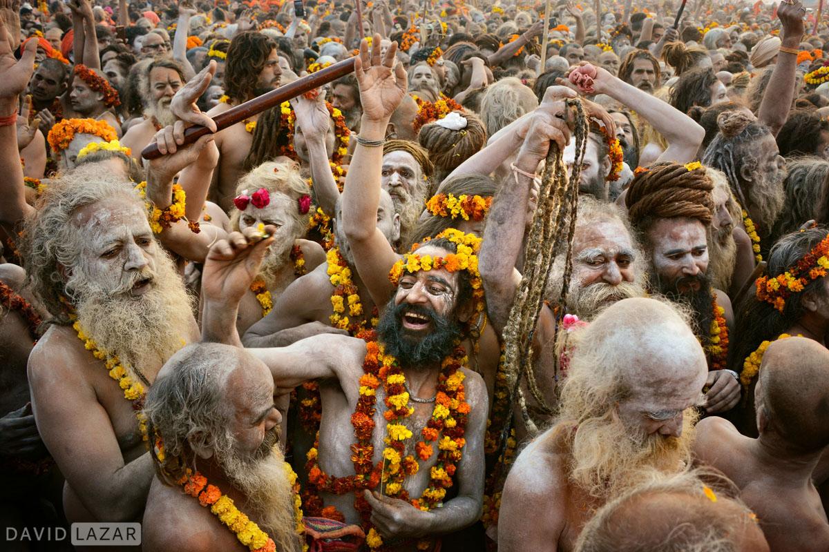 Naga babas in wild procession at the Kumbh Mela, 2019