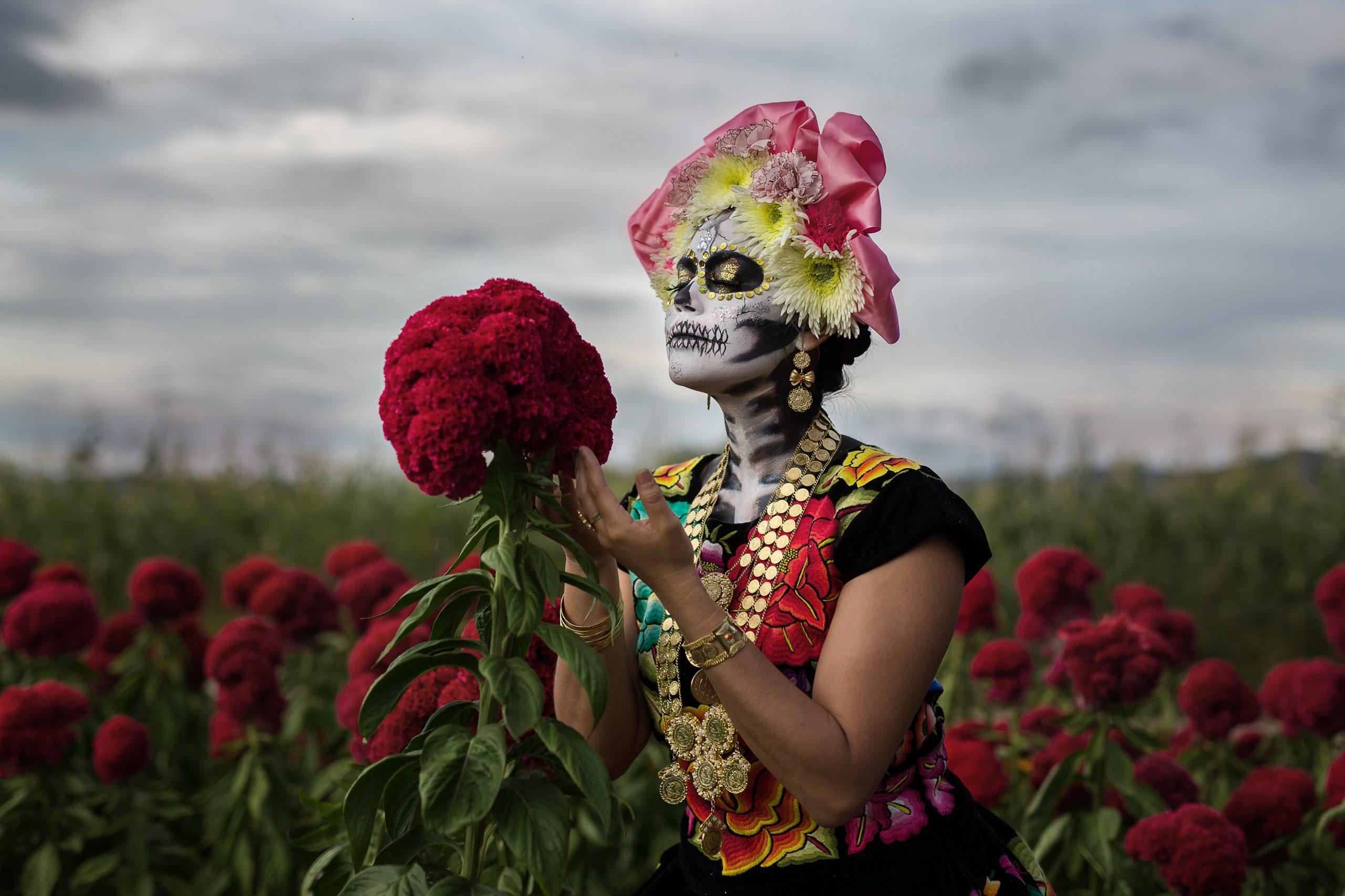 Catrina im Blumenfeld 1 - Mexiko